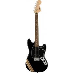 SQUIER by FENDER BULLET MUSTANG FSR HH BLACK w/COMPETITION STRIPES