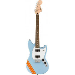 SQUIER by FENDER BULLET MUSTANG FSR HH DAPHNE BLUE w/COMPETITION STRIPES