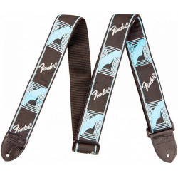 "FENDER 2"" MONOGRAMMED BLACK/LIGHT GREY/MEDIUM BLUE STRAP"
