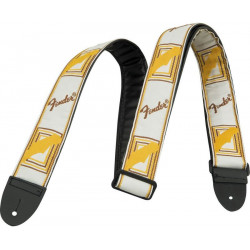 "FENDER 2"" MONOGRAMMED WHITE/BROWN/YELLOW STRAP"