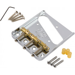 FENDER BRIDGE ASSEMBLY FOR AMERICAN VINTAGE HOT ROD TELECASTER WITH COMPENSATED BRASS SADDLES NICKEL