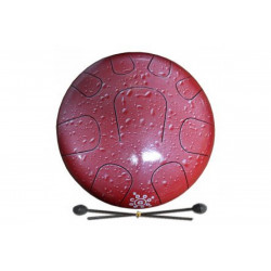 PALM PERCUSSION METAL TONGUE DRUM 9 LEAFS SPLASH RED