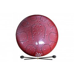 PALM PERCUSSION METAL TONGUE DRUM 9 LEAFS RED SPLASH