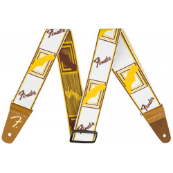 """FENDER 2"""" WEIGHLESS MONOGRAMMED STRAP WHITE/BROWN/YELLOW"""