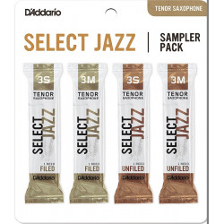 D`ADDARIO Select Jazz Reed Sampler Pack - Tenor Sax 3S/3M