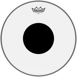 "REMO Batter, CONTROLLED SOUND, Clear, 8"" Diameter, BLACK DOT On Top"